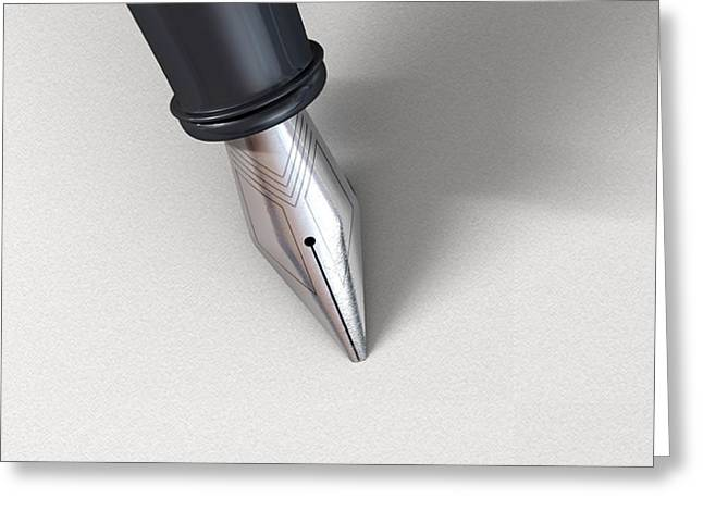 Signature Digital Art Greeting Cards - Fountain Pen In Writing Position Greeting Card by Allan Swart