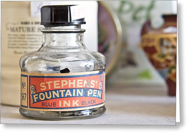 Label Greeting Cards - Fountain pen ink Greeting Card by Tom Gowanlock