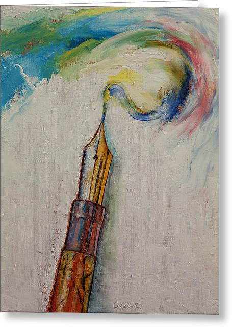 Chrome Greeting Cards - Fountain Pen Greeting Card by Michael Creese