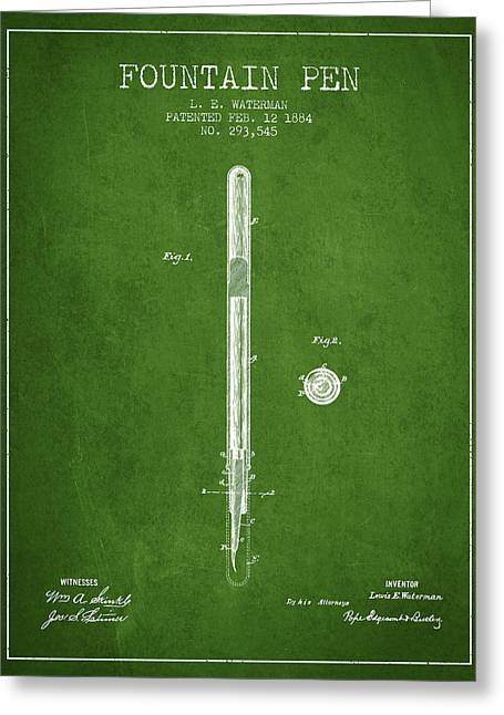 Pen Greeting Cards - Fountain Pen patent from 1884 - Green Greeting Card by Aged Pixel