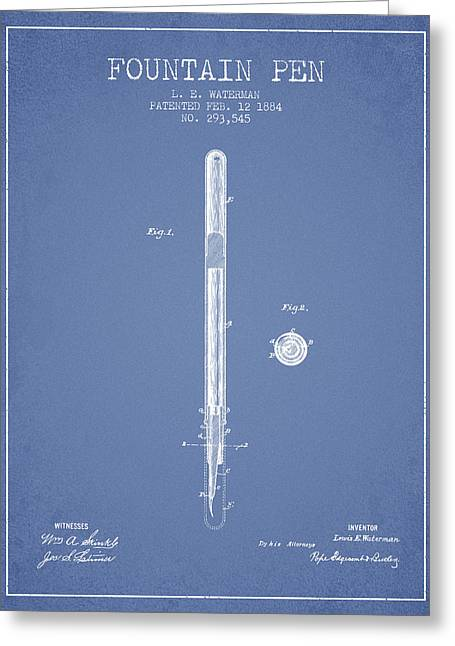 Pen Greeting Cards - Fountain Pen patent from 1884 - Light Blue Greeting Card by Aged Pixel