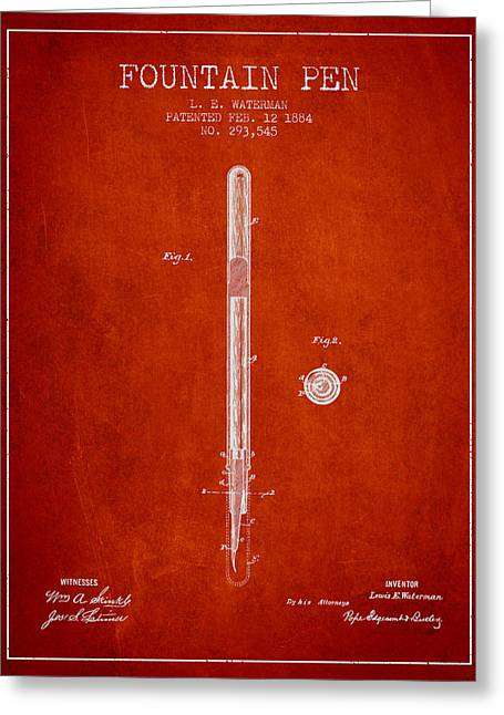 Pen Greeting Cards - Fountain Pen patent from 1884 - Red Greeting Card by Aged Pixel