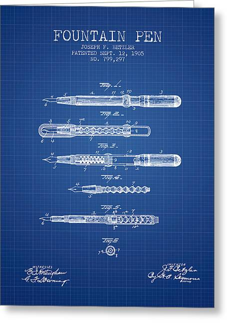 Pen Greeting Cards - Fountain Pen patent from 1905 - Blueprint Greeting Card by Aged Pixel