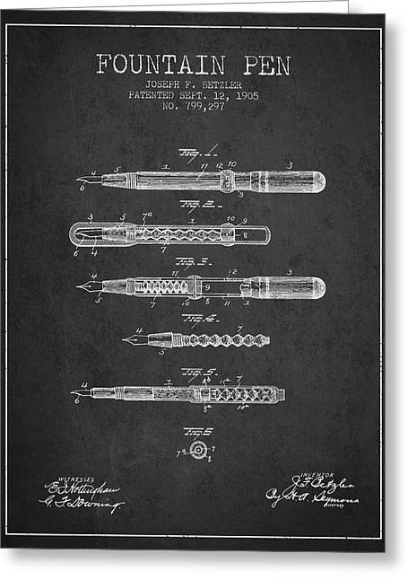 Pen Greeting Cards - Fountain Pen patent from 1905 - Charcoal Greeting Card by Aged Pixel