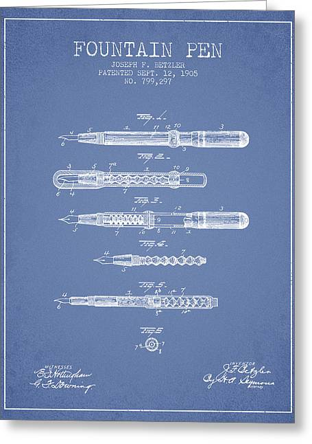 Pen Greeting Cards - Fountain Pen patent from 1905 - Light Blue Greeting Card by Aged Pixel