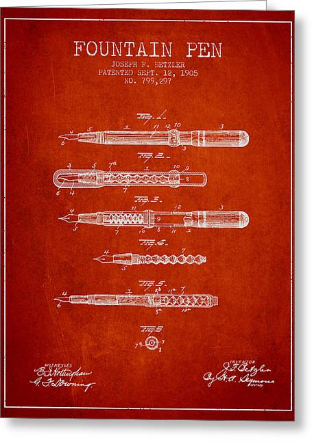 Pen Greeting Cards - Fountain Pen patent from 1905 - Red Greeting Card by Aged Pixel