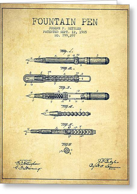 Pen Digital Greeting Cards - Fountain Pen patent from 1905 - Vintage Greeting Card by Aged Pixel