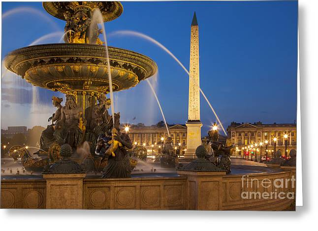 Art Of Building Greeting Cards - Fountain Place de la Concorde Greeting Card by Brian Jannsen