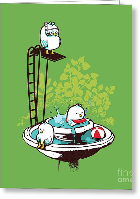 Cute Bird Greeting Cards - Fountain Pool party Greeting Card by Budi Kwan