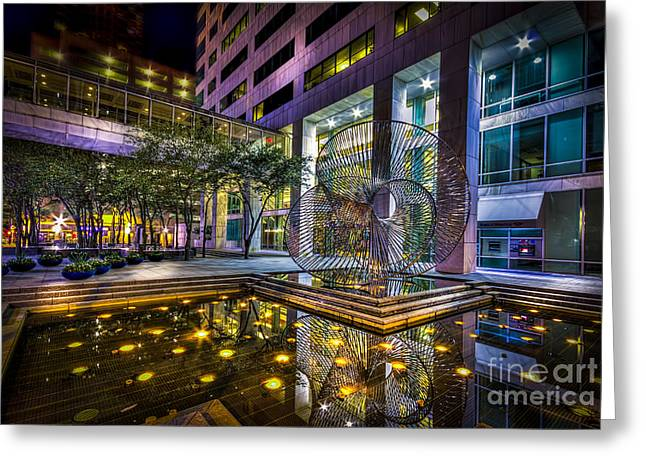 Metal Art Greeting Cards - Fountain Reflection Greeting Card by Marvin Spates