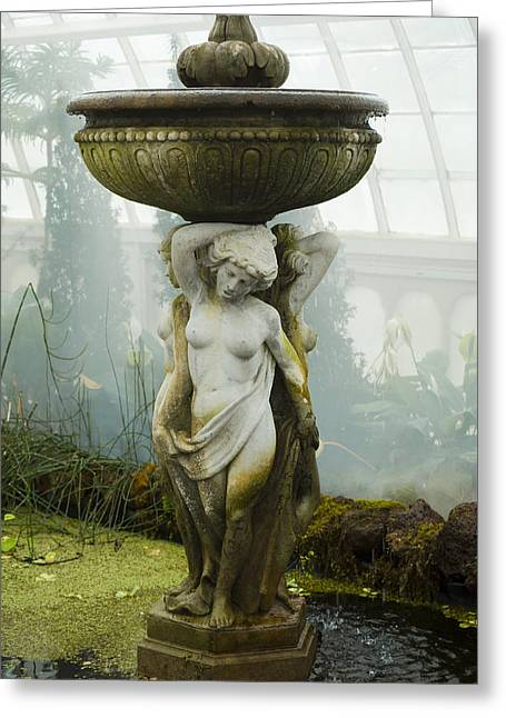 Conservatory Garden Greeting Cards - Fountain Statue Greeting Card by Garry Gay