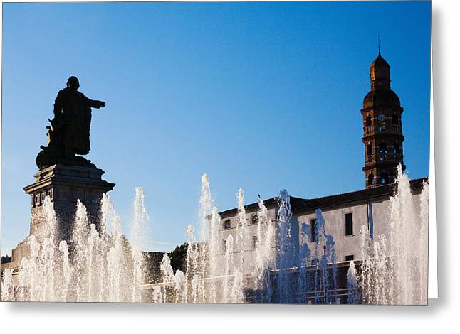 Midi Greeting Cards - Fountain With A Statue At Place Greeting Card by Panoramic Images