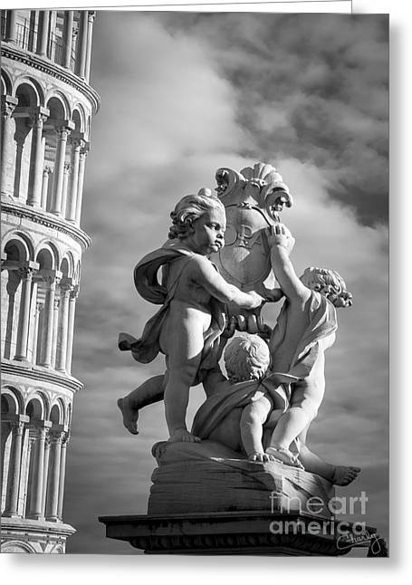 Charly Greeting Cards - Fountain with Angels Greeting Card by Prints of Italy