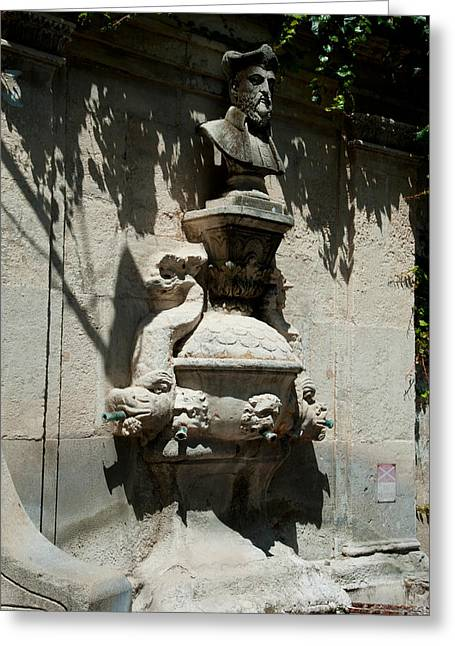 St Remy Greeting Cards - Fountain With The Bust Of Nostradamus Greeting Card by Panoramic Images
