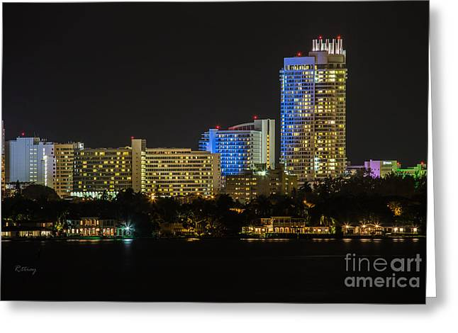 Fontain Greeting Cards - Fountainebleau Hotel Bayview Miami Beach Florida Greeting Card by Rene Triay Photography