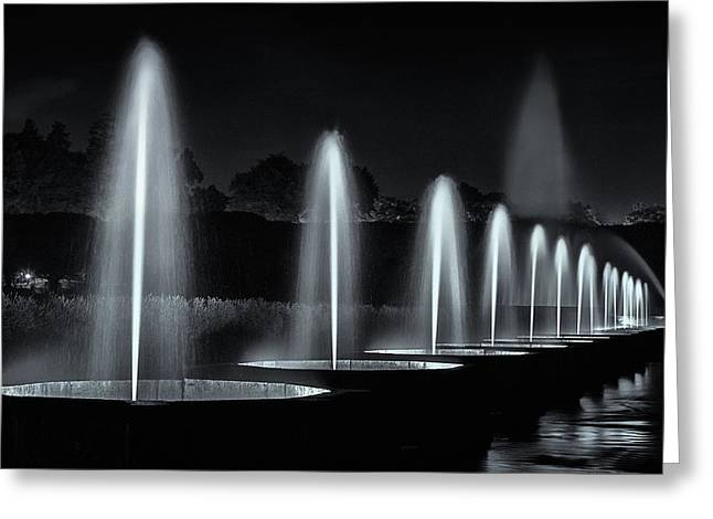 Garden Show Greeting Cards - Fountains and lights Greeting Card by Eduard Moldoveanu