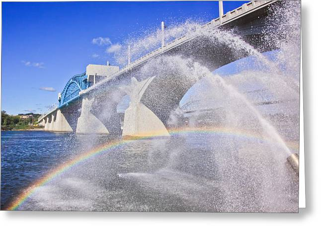 Tennessee River Greeting Cards - Fountains and the Market Street Bridge Greeting Card by Tom and Pat Cory