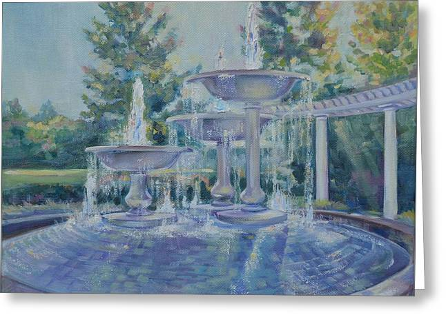Fountains At Noon Greeting Card by Elena Broach