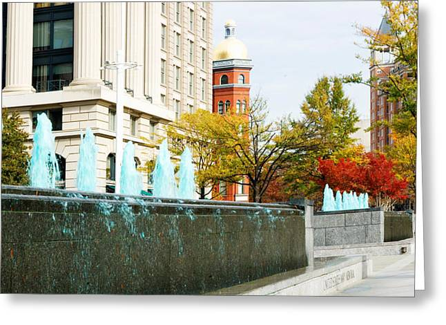 Memorial Photography Greeting Cards - Fountains In Front Of A Memorial, Us Greeting Card by Panoramic Images