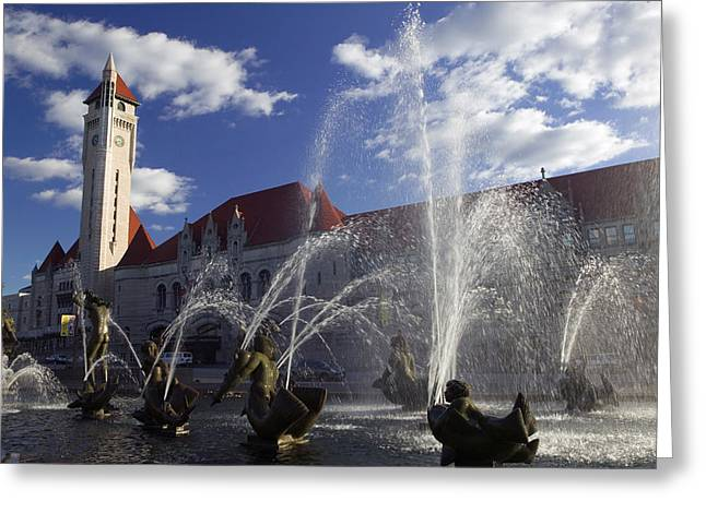 Spraying Greeting Cards - Fountains In Front Of A Railroad Greeting Card by Panoramic Images