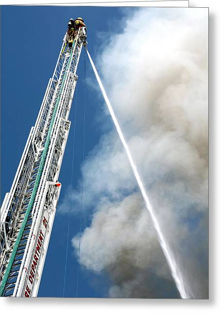Neoichi Greeting Cards - Four Alarm Blaze 001 Greeting Card by Lon Casler Bixby