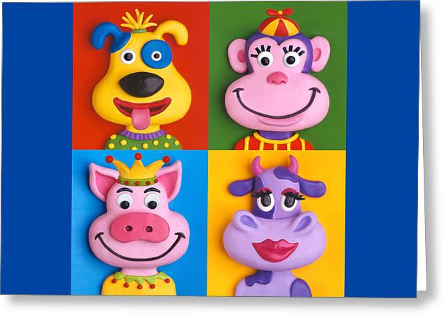 Four Animal Faces Greeting Card by Amy Vangsgard
