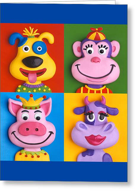 Illustration Sculptures Greeting Cards - Four Animal Faces Greeting Card by Amy Vangsgard