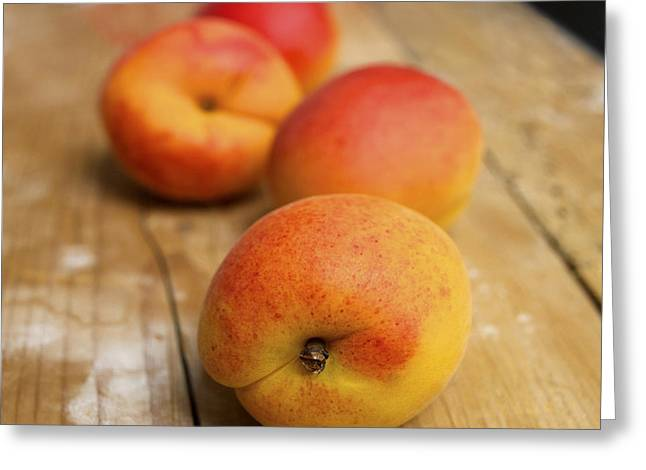 Focus On Foreground Greeting Cards - Four Apricots Greeting Card by Bernard Jaubert