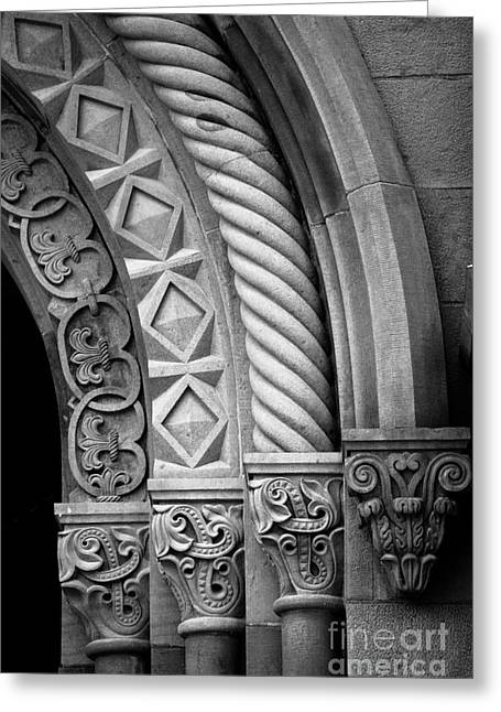 Monochrome Greeting Cards - Four Arches Greeting Card by Inge Johnsson