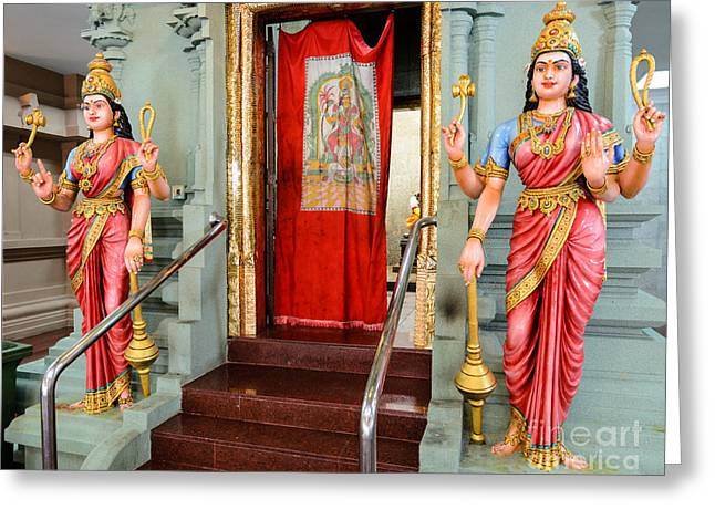 Four-armed Deities Guard The Inner Sanctum Of A Hindu Temple Greeting Card by David Hill