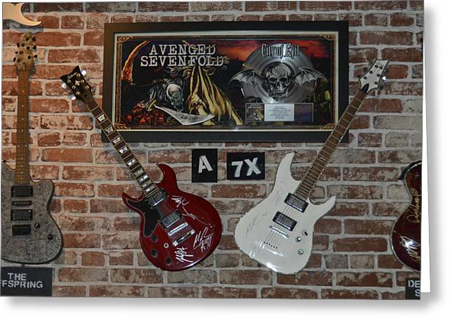 Autographed Guitars Greeting Cards - Vintage Four autographed Guitars and signed record from bands Avenged SevenFold- The Off Spring  Greeting Card by Renee Anderson