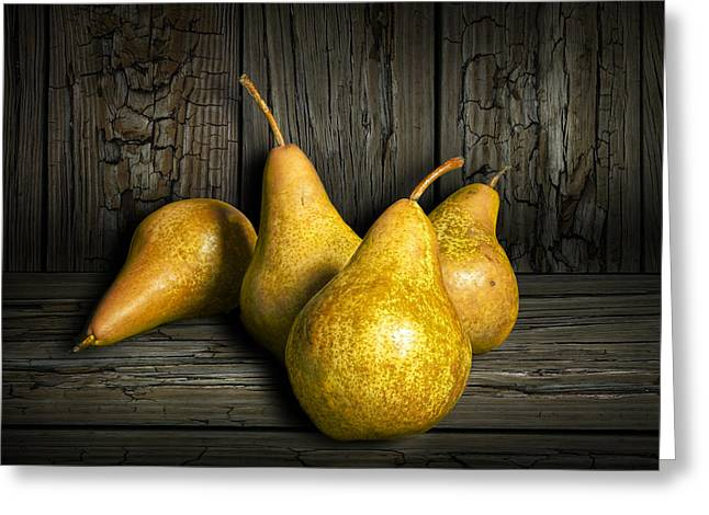 Pear Art Greeting Cards - Four Bartlett Pears Greeting Card by Randall Nyhof