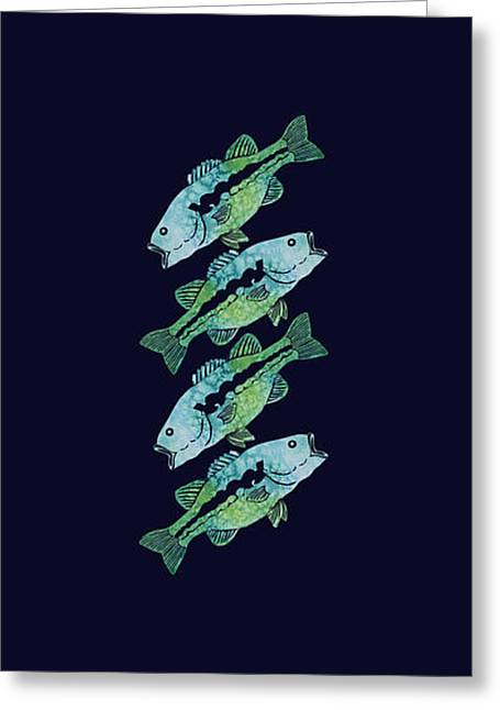 Four Bass Greeting Card by Jenny Armitage