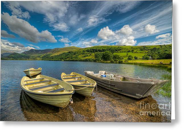 Rope Greeting Cards - Four Boats Greeting Card by Adrian Evans