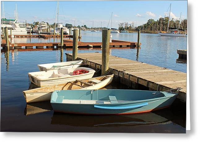Docked Sailboats Greeting Cards - Four Boats  Greeting Card by Cynthia Guinn