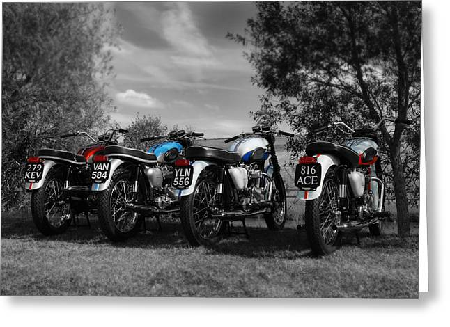 Motorcycle Art Greeting Cards - Four Bonnevilles Greeting Card by Mark Rogan