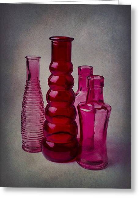 Breakable Greeting Cards - Four Bottles Greeting Card by Garry Gay