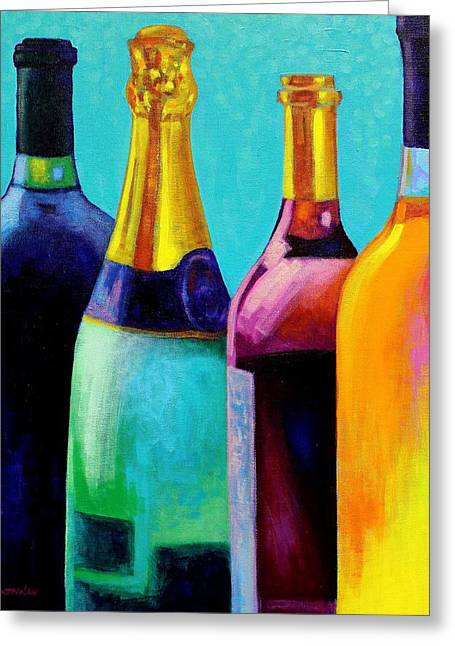 Canvas Wine Prints Greeting Cards - Four Bottles Greeting Card by John  Nolan