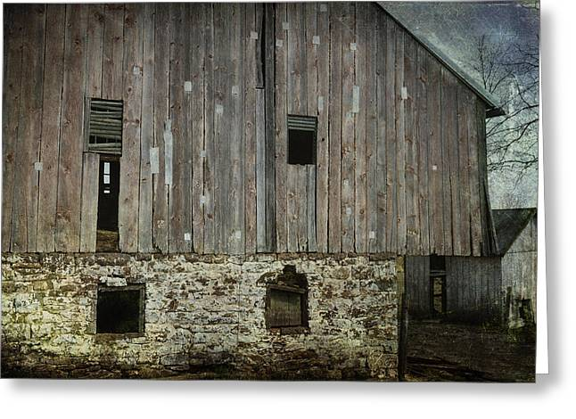 Shatters Greeting Cards - Four Broken Windows Greeting Card by Joan Carroll