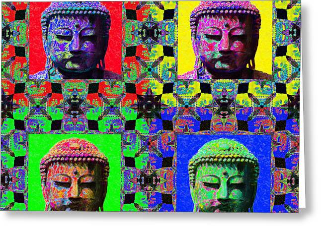 Budha Greeting Cards - Four Buddhas 20130130 Greeting Card by Wingsdomain Art and Photography