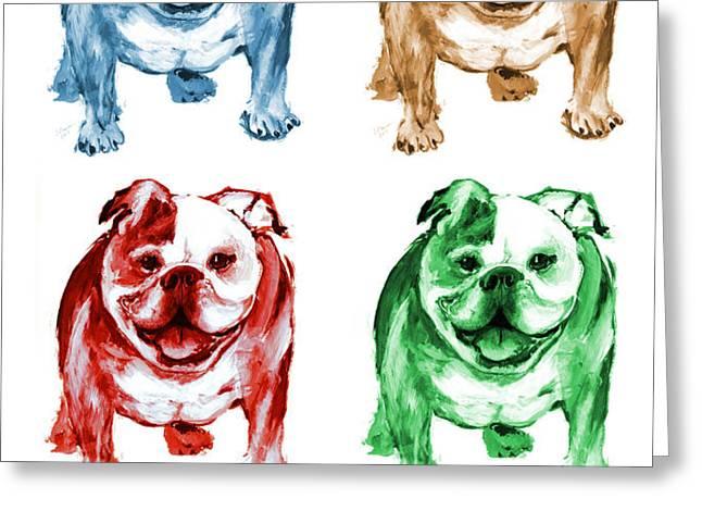 Four Bulldogs Greeting Card by Barbara Marcus