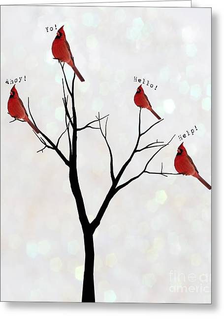 Calling Greeting Cards - Four Calling Birds Greeting Card by Juli Scalzi