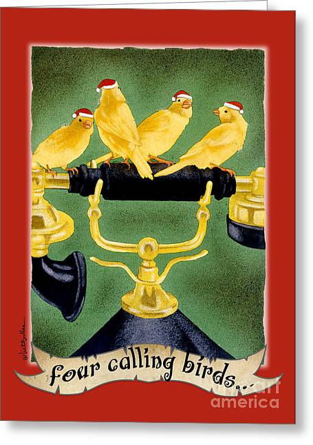 Will Greeting Cards - Four calling birds... Greeting Card by Will Bullas