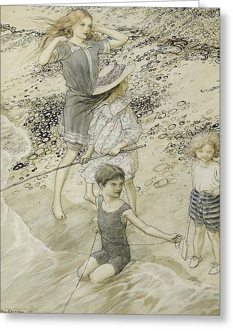 Ocean Shore Drawings Greeting Cards - Four Children at the Seashore Greeting Card by Arthur Rackham