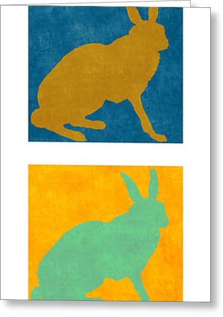 Rabbit Greeting Cards - Four Colorful Rabbits Vertical Greeting Card by Carol Leigh