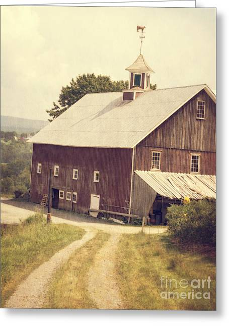 Red Buildings Greeting Cards - Four Corners Farm Vermont Greeting Card by Edward Fielding