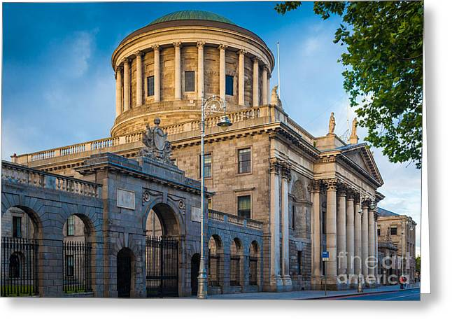 Liffey Greeting Cards - Four Courts Building Greeting Card by Inge Johnsson