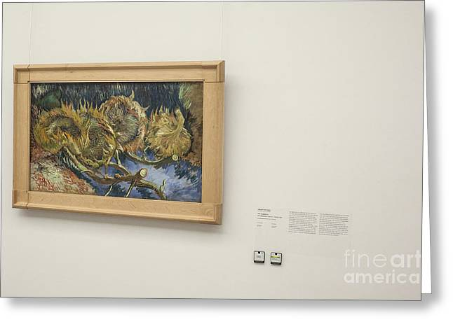 Vintage Painter Greeting Cards - Four cut sunflowers by van Gogh Greeting Card by Patricia Hofmeester