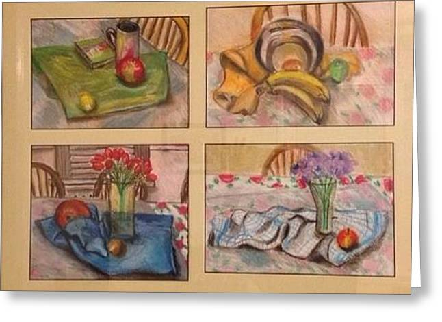 Checker Pastels Greeting Cards - Four Dining Room Still Life Greeting Card by Lyuda Packer
