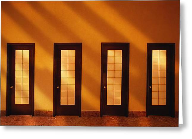 Visual Metaphor Greeting Cards - Four Doors In A Room Greeting Card by Don Hammond